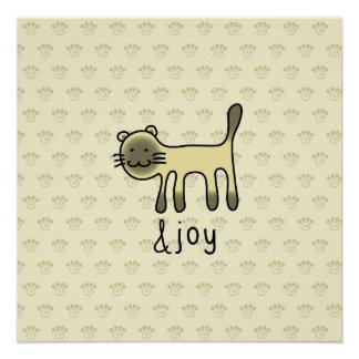 cute Siamese cat & joy doodle Poster