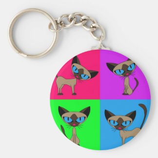 Cute Siamese Cats Basic Round Button Key Ring