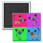 Cute Siamese Cats Square Magnet