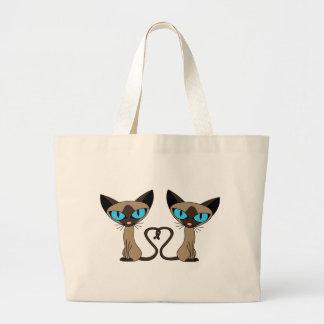 Cute Siamese Cats Tail Heart Canvas Bag