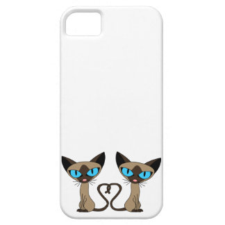 Cute Siamese Cats Tail Heart iPhone 5 Covers