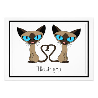 Cute Siamese Cats Tail Heart Flat Thank You Card
