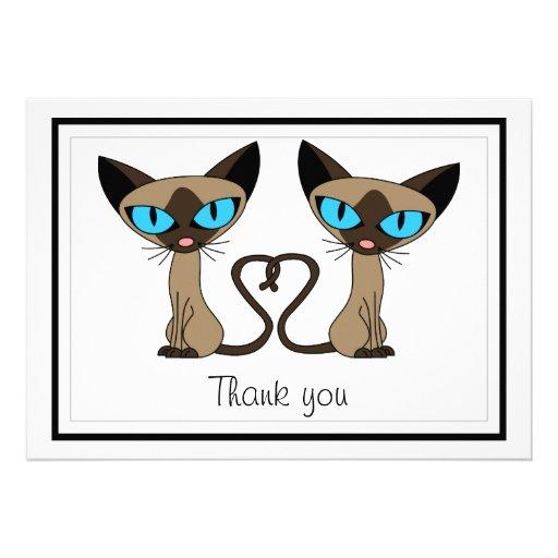 Cute Siamese Cats Tail Heart Flat Thank You Card