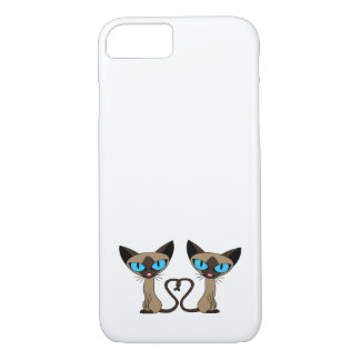 Cute Siamese Cats Tail Heart iPhone 7 Case