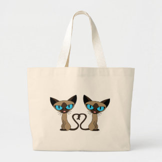 Cute Siamese Cats Tail Heart Large Tote Bag