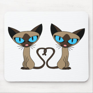 Cute Siamese Cats Tail Heart Mouse Mat