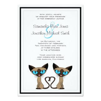 Cute Siamese Cats Tail Heart Wedding Invitation