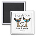 Cute Siamese Cats Tail Heart Wedding Save the Date