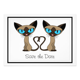 Cute Siamese Cats Tail Heart Wedding Save the Date Invitation