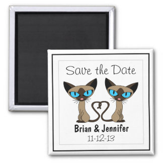 Cute Siamese Cats Tail Heart Wedding Save the Date Fridge Magnet