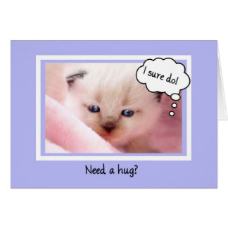 Cute Siamese Kitten, Need A Hug, Encouragement Greeting Card