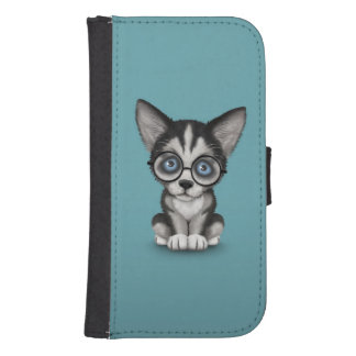 Cute Siberian Husky Puppy Wearing Glasses Blue Samsung S4 Wallet Case