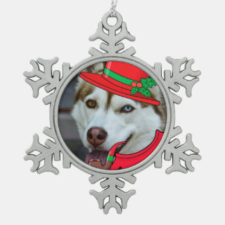 Cute Siberian Husky Santa Ornament