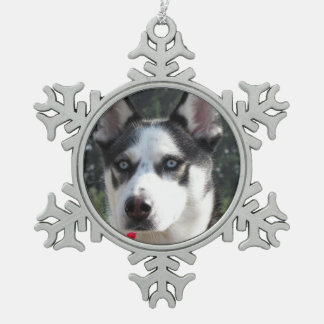 Cute Siberian Husky Snowflake Pewter Christmas Ornament