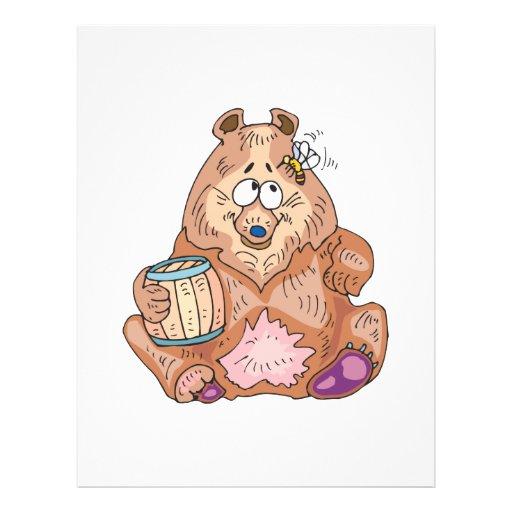 cute silly bear with honey custom flyer