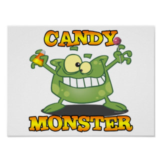 cute silly candy monster cartoon for halloween poster