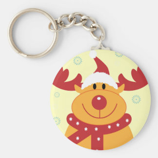 Cute Silly Christmas Reindeer! (Customize It!) Key Ring