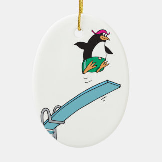cute silly diving penguin christmas ornament