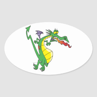 cute silly firebreathing dragon cartoon character oval sticker