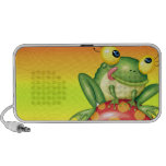 cute silly frog on toadstool mushroom travel speakers