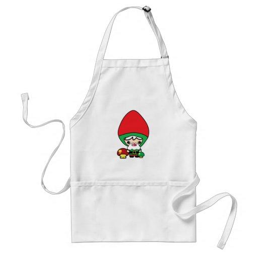cute silly kawaii garden gnome and mushrooms apron