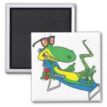 cute silly lounging sun lizard cartoon square magnet