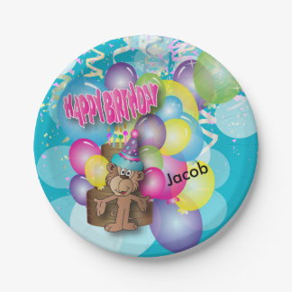 Cute Silly Monkey Blue Birthday Party Paper Plate
