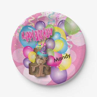 Cute Silly Monkey Pink Birthday Party Paper Plate