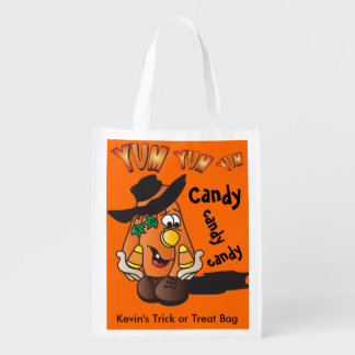 Cute Silly Orange Halloween Pumpkin Candy Guy Reusable Grocery Bag