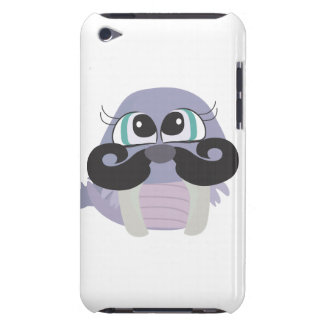 cute silly walrus cartoon with mustache iPod touch cases