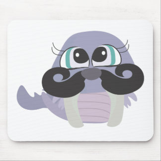 cute silly walrus cartoon with mustache mouse pad
