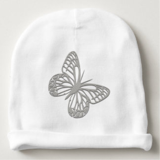 Cute Silver Butterfly Baby Beanie Hat