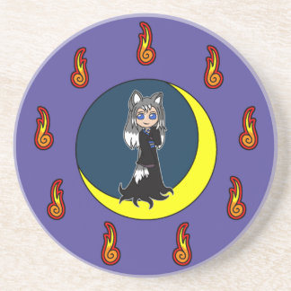 Cute Silver Fox Girl (Kitsune) Coaster