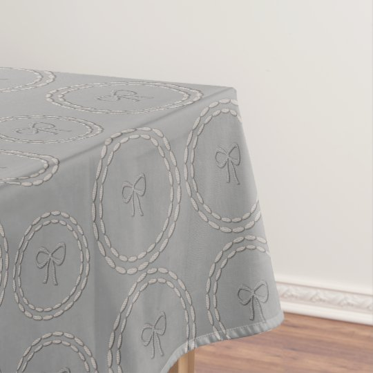 Cute Silver Grey Bows Pattern Table Cloth Tablecloth