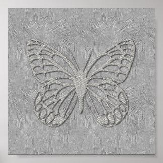 Cute Silver Grey Butterfly Silk Textured Poster