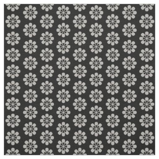 Cute Silver Grey Flower Floral Pattern Black Fabric