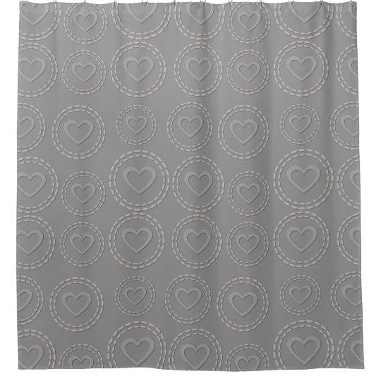 Cute Silver Grey Hearts Pattern Shower Curtain