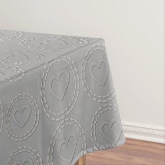 Cute Silver Grey Hearts Pattern Table Cloth