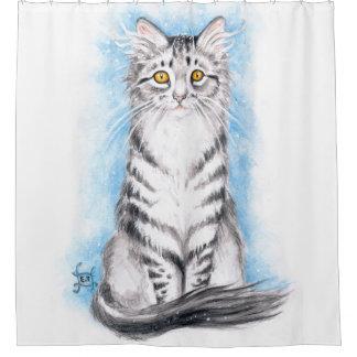 Cute Silver Kitty Shower Curtain