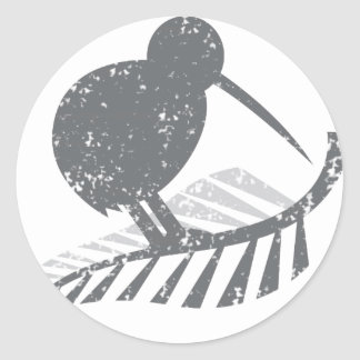 cute silver kiwi bird and silver fern distressed classic round sticker