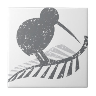 cute silver kiwi bird and silver fern distressed small square tile