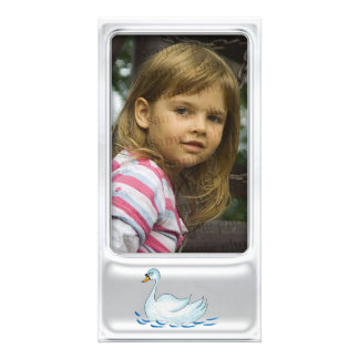 Cute silver photo frame with cute swan personalized photo card