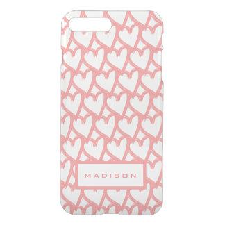 Cute Simple Pink Hearts Pattern   Personalised iPhone 8 Plus/7 Plus Case