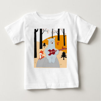 Cute sing a summer song fox wolf and teddy bear baby T-Shirt