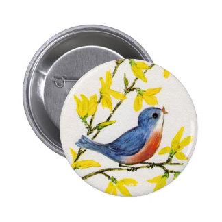 Cute Singing Blue Bird Tree Pinback Buttons