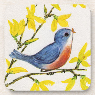 Cute Singing Blue Bird Tree Branch Beverage Coasters