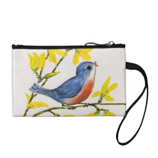Cute Singing Blue Bird Tree Branch Change Purses