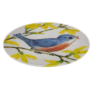 Cute Singing Blue Bird Tree Branch Cutting Board