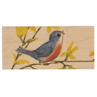 Cute Singing Blue Bird Tree Branch Wood USB 2.0 Flash Drive