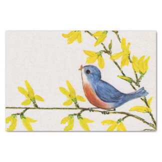 Cute Singing Blue Bird Tree Branch Tissue Paper